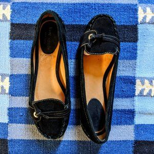 Kate Spade Black Suede Moccasin Loafers Flats